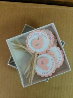All About Details Shimmer Pink 6th Birthday Cupcake Toppers.
