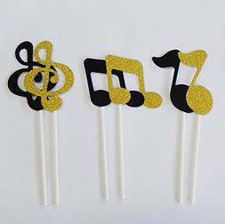 Yunko 12pcs Shiny Musical note Party Fun Cup Cake Decorative