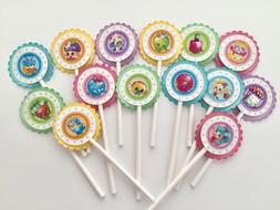 Shopkins Dimensional Cupcake Toppers Set Of 14