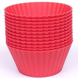 Silicone Cupcake Liners - Set Of 12 Premium Reusable Red BPA
