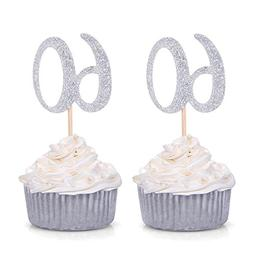 Set of 24 Silver Number 60 60th Birthday Cupcake Toppers Cel