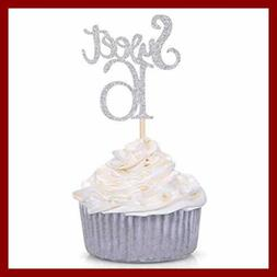 Silver Sweet 16 Cupcake Toppers Sixteenth/16Th Birthday Part