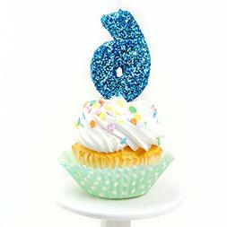 "Number Six  3"" Coastal Sparkle Glitter Birthday or Anniversa"