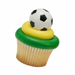 Soccer Ball Cupcake Rings - 24 pc