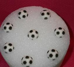 Soccer Ball Edible Cupcake Toppers, Molded Sugar,DecoPac,Bla