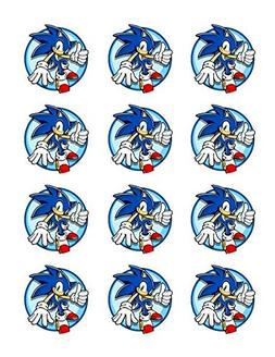 """Sonic the Hedgehog Edible Cupcake Topper Images, 2"""", Set of"""