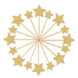 Star Cake Topper, LUTER 50 Pcs Gold Glitter Star Cupcake Top
