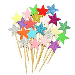 50pcs Star Cupcake Toppers DIY Glitter Mini Birthday Cake Sn