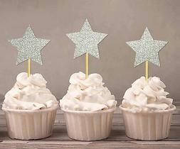 Star Shape Cupcake Toppers, Birthday Wedding Party - Pack Of