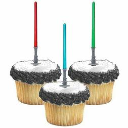 Star Wars Cupcake Toppers Colorful Light sabers Birthday Par