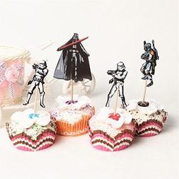 24pcs Star Wars Theme Cartoon Cupcake toppers picks,4 design