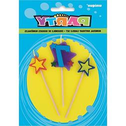 Stars & Number 7 Birthday Candle Set, 3pc