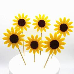 GEORLD 24pcs Sunflower Cupcake Toppers Party Picks Cake Flow