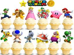 Super Mario Bros Cupcake Toppers Kids Birthday Party Supplie