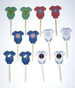 Superhero Baby Shower Party Set Of 12 Cupcake Toppers Avenge