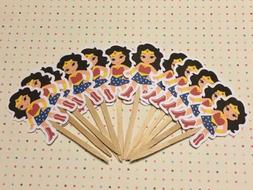 Superhero Girl Wonder Woman Party Set Of 12 Cupcake Toppers