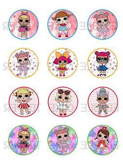 Surprise Dolls Edible Cupcake Toppers  Cake Image Icing Suga