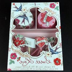 Meri Meri Sweet Love & Romance 24 Cupcake Liner Cases Topper
