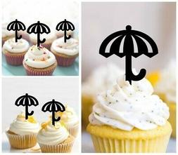 TA0656 Umbrella Party Acrylic Cupcake Picks Topper 10 pcs