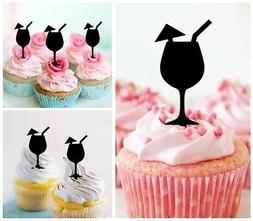 TA1023 Cocktail Glass Party Acrylic Cupcake Picks Topper 10