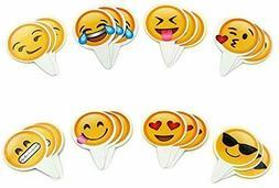 TECCA Emoji Cupcake Toppers 24-Pack for Emoji Party Decorati