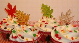 Thanksgiving Cake Toppers Fall Glitter Leaves Cupcake Picks