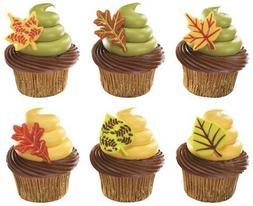 Thanksgiving Cake Toppers Fall Leaves Cupcake Picks One Doze