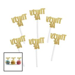 Thirty AF Cupcake Toppers In GOLD Glitter 20 Ct 30Th 30 Anni