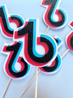 TikTok / Tik Tok Black Glitter Cupcake Toppers / Tiktok Them