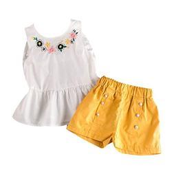 Suma-ma  Toddler Kids Girl Sleeveless Flower Cotton WhiteT-s