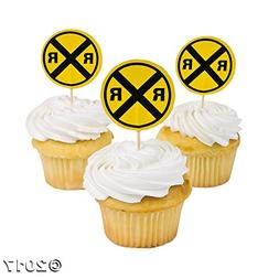 1 X Train Railroad Crossing Sign Cupcake Picks - 25 pcs