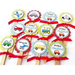 Transportation Cupcake Toppers - Children Boy Girl Birthday