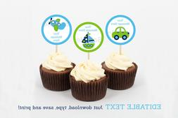 Transportation Vehicles Car Plane Cupcake Toppers Party Favo
