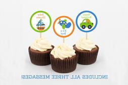 Transportation Vehicles Car Sailboat Cupcake Toppers Party F