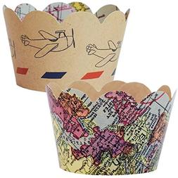 Travel Theme Party Supplies, Map Cupcake Wrappers, Airplane