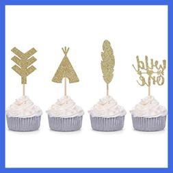 Giuffi 24 CT Tribal Boho Cupcake Toppers Wild One Arrow Feat