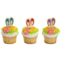 Tropical Cake Toppers Flip Flop Cupcake Picks One Dozen