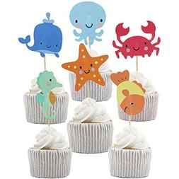 Betop House 24pcs Under the Sea Themed Party Decorating Cake