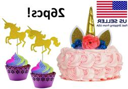 Unicorn Birthday Party Decorations 26pc Gold Cupcake Toppers