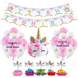 Unicorn Birthday Theme Party Decoration, Cake & Cupcake Topp
