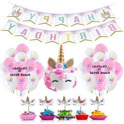 Unicorn Birthday Theme Party Decoration, Cake & Cupcake Topp