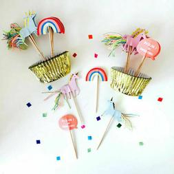 Unicorn Cupcake Case Cup Holder Topper Kit Party Decorations