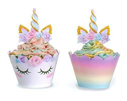 Unicorn Cupcake Decorations, Double Sided Toppers and Wrappe