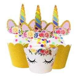 unicorn cupcake topper and wrapper decorations gold