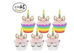 unicorn cupcake toppers and wrappers 1pack 24ea