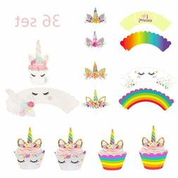 Unicorn Cupcake Toppers and Wrappers Kids Birthday Party Fav