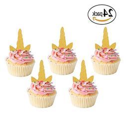 NiceLife Unicorn Cupcake Toppers Glitter Gold Unicorn Horn S