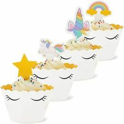 Unicorn Cupcake Toppers and Liners - 100-Piece Rainbow Unico