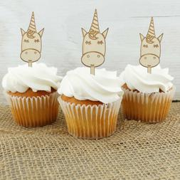 Unicorn Cupcake Toppers Set of 12 Engraved Wood Sticks Theme