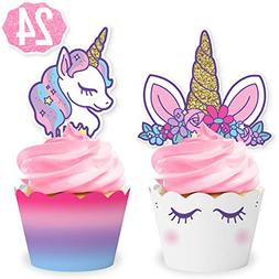 xo, Fetti Unicorn Cupcake Toppers + Wrappers | Birthday Part
